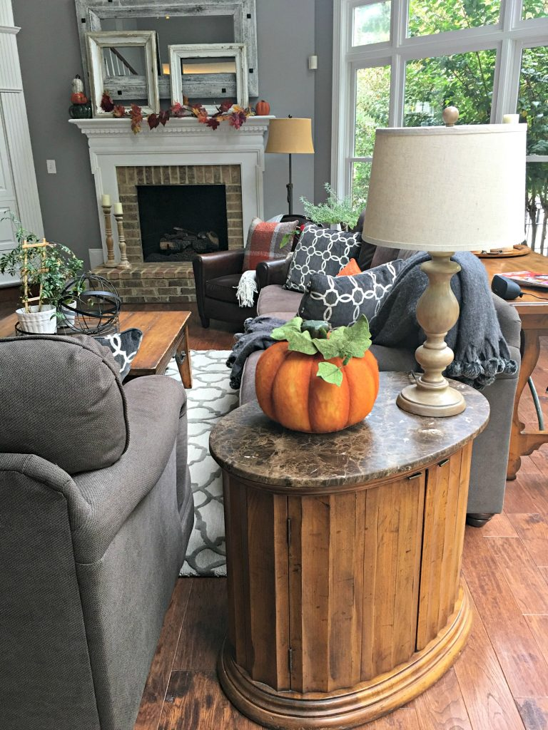 Decorating for Fall with my favorite faux pumpkin