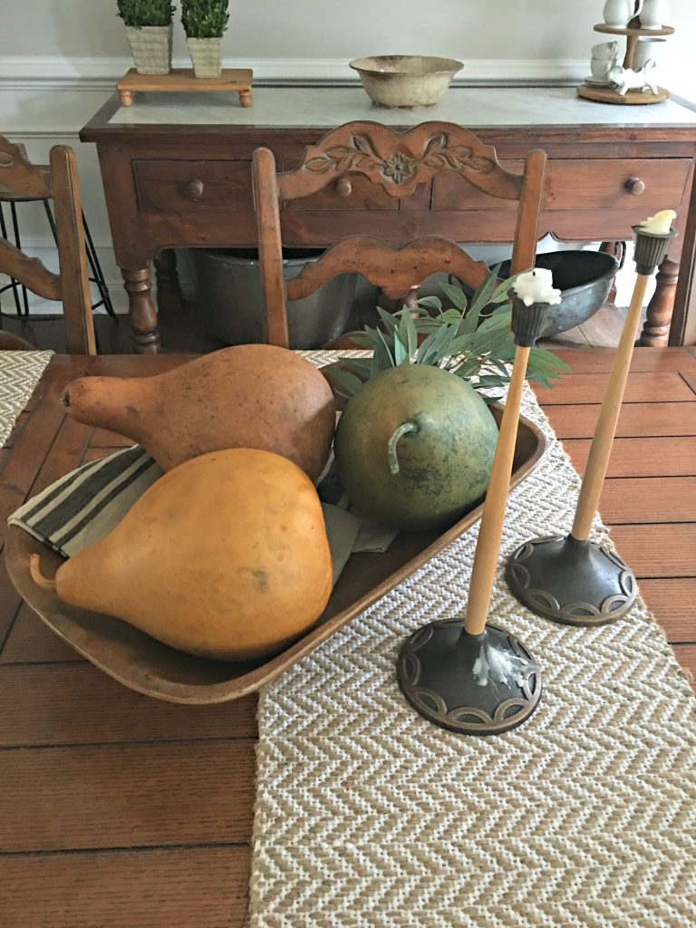 Decorating the Dining Room for Fall with Gourds