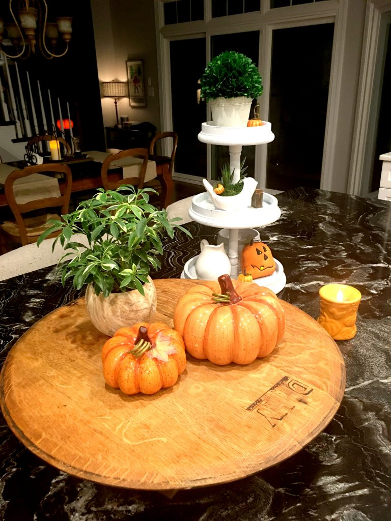 Fall Kitchen Island at nighttime