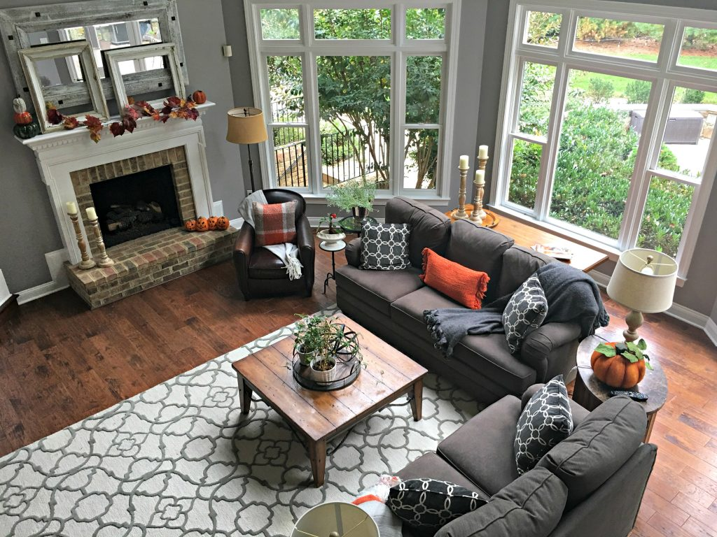 Family Room with pops of orange
