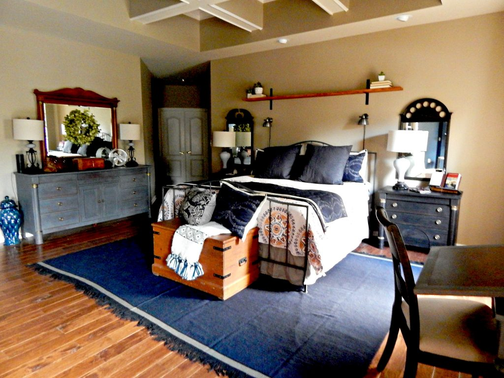 Master bedroom reveal with Hardwood flooring and Fixer Upper Style