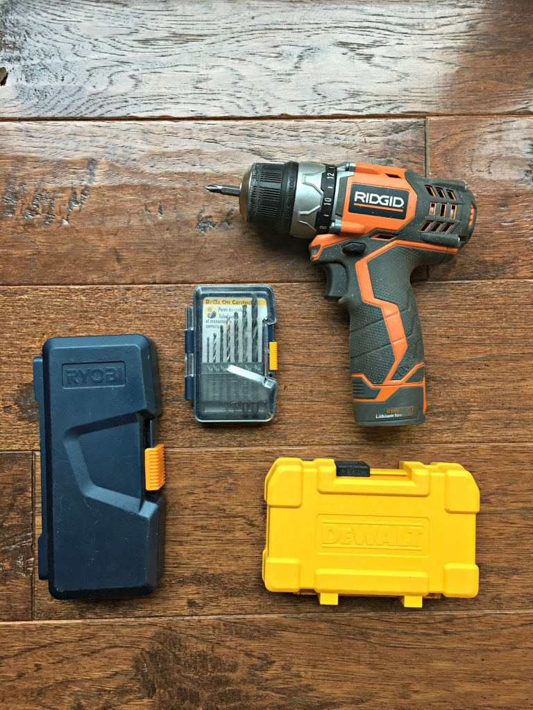 Rigid Rechargeable Drill with several different brand drill bits