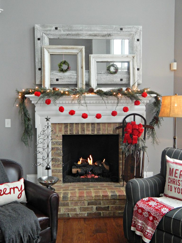 Christmas Mantel with pops of red