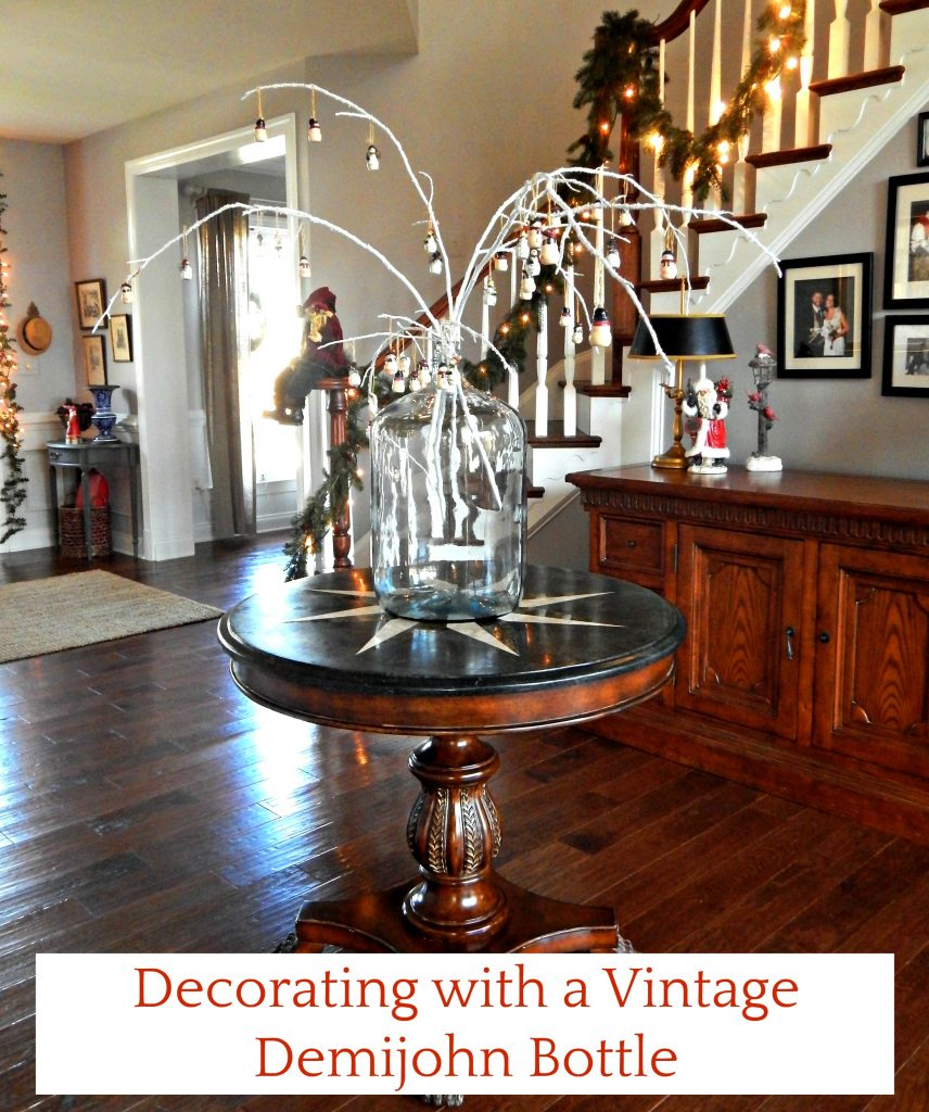 Decorating for Christmas with a vintage demijohn bottle