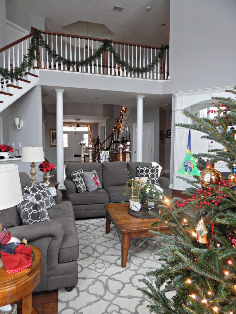 Grey Family Room with Pops of Christmas Red