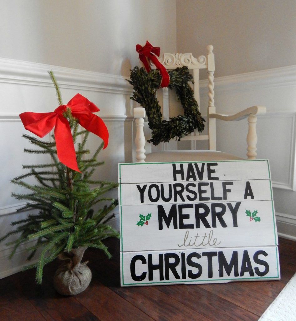 Have yourself a Merry little Christmas DIY sign in the dining room.