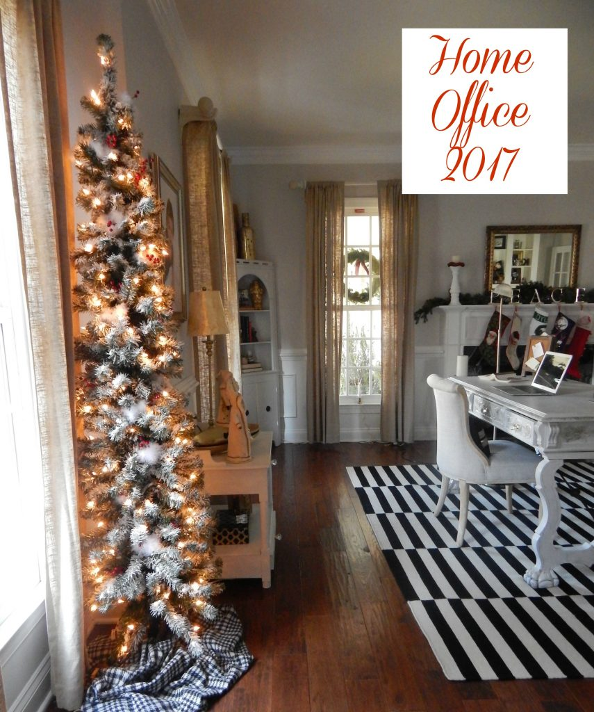 My home office decorated with a DIY flocked pencil Christmas tree