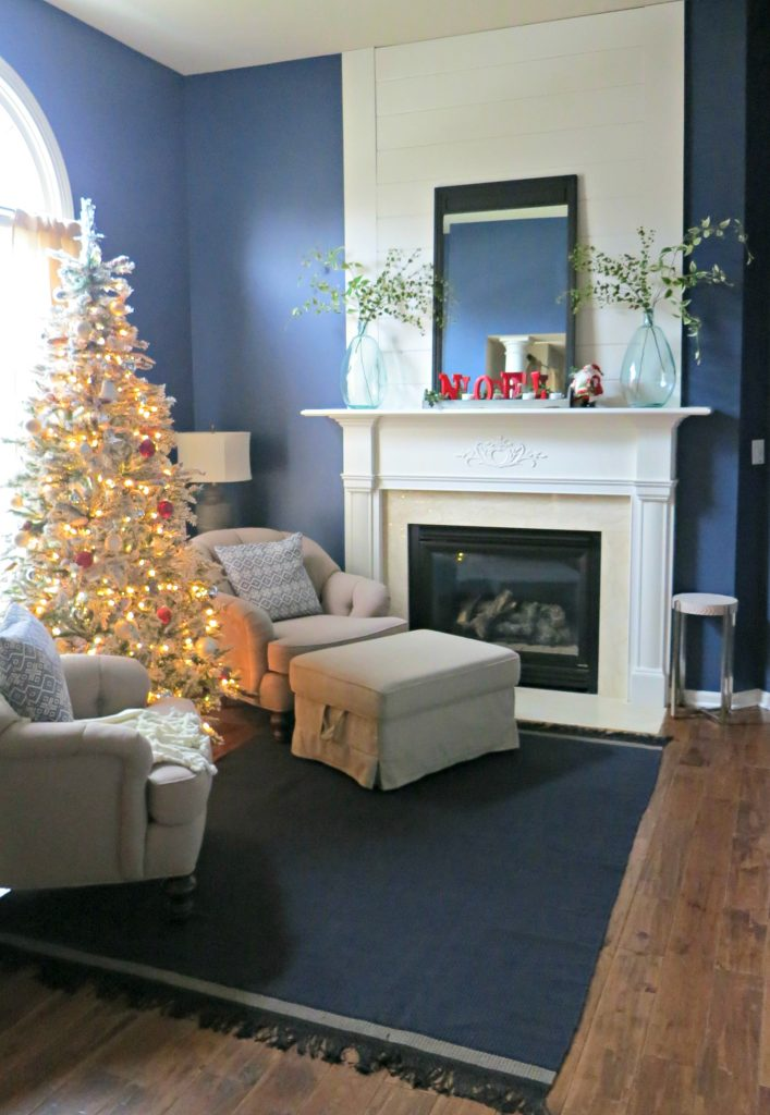 sitting room off the master bedroom dressed for Christmas