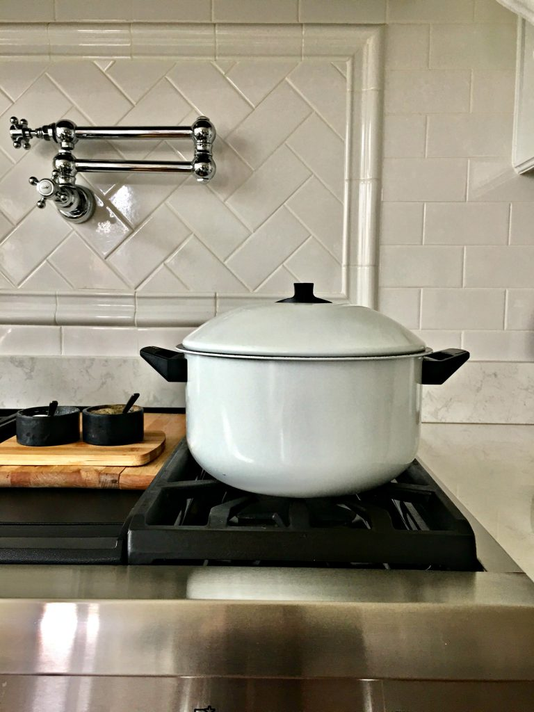 White enamel pot from Goodwill