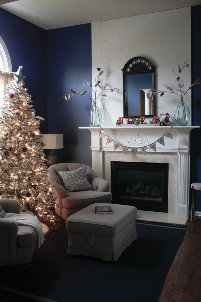 Master bedroom sitting room dressed for Christmas