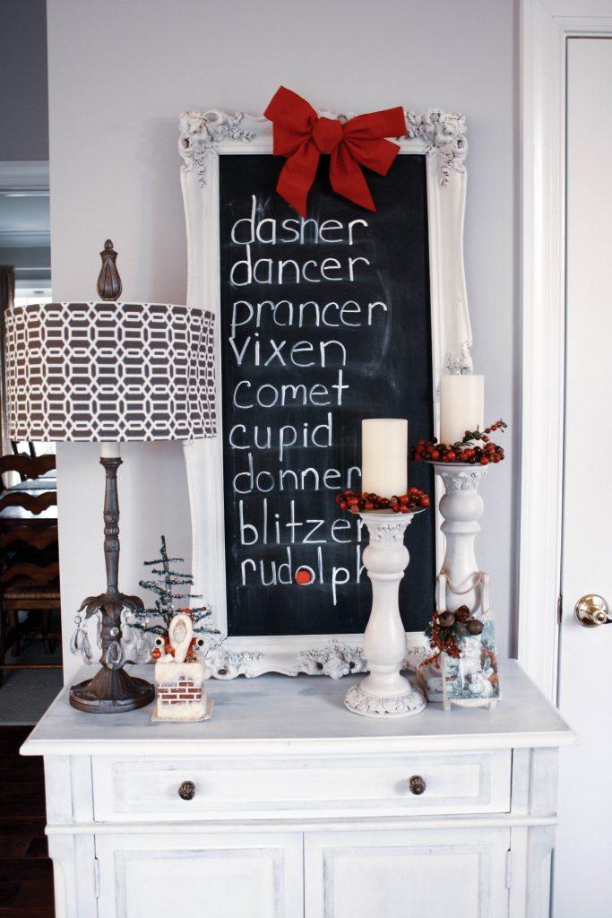 DIY chalkboard with Santa's reindeer