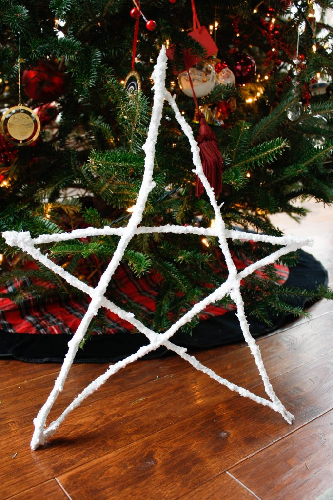 DIY flocked twig star