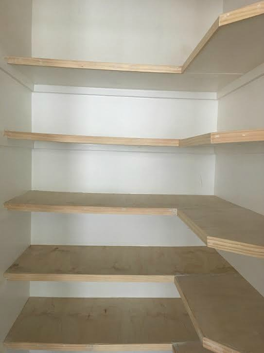 Shelves resurfaced with Lauan Plywood
